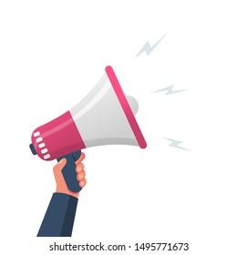 Attention please. Hand hold megaphone. Speaker, loudspeaker. Advertising and promotion symbol. Bullhorn cartoon. Social media marketing concept. Vector illustration flat design. Landing page template.