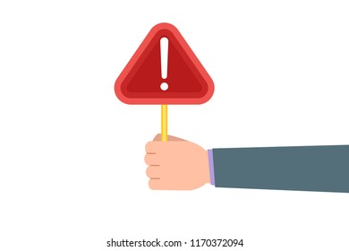 Attention please. Hand  holding board. Vector illustration.