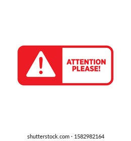 Attention please sign icon design, isolated on white background. vector illustration