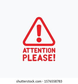 Attention Please sign, label, icon, symbol. Vector illustration