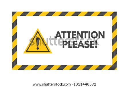 Attention Please Sign Yellow Triangle On Stock Vector