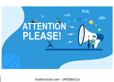 Attention please with Tiny People Character Concept Vector Illustration, Suitable For web landing page,Wallpaper, Background, Card, banner,Book Illustration
