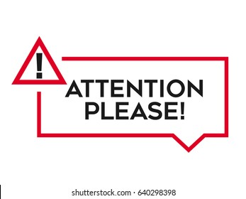Attention Please Vector Badge, Banner Template for Website or Infographic