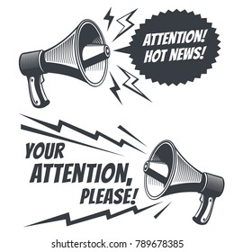 Attention please vector symbols with voice megaphone. Commercial poster with megaphone and message bubble illustration