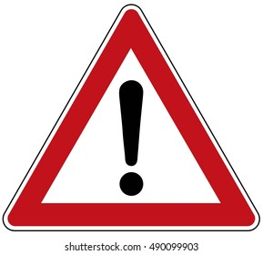 attention red white black triangle road sign vector