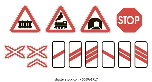 Railroad Crossing Sign Images, Stock Photos & Vectors