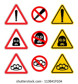 Attention Robber sign set. Stop Caution Rogue. It is forbidden Burglar. Road prohibitory sign. Danger thief vector illustration