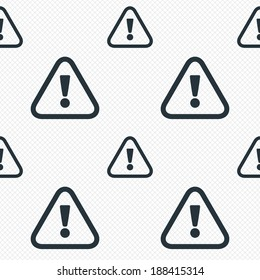 Attention sign icon. Exclamation mark. Hazard warning symbol. Seamless grid lines texture. Cells repeating pattern. White texture background. Vector