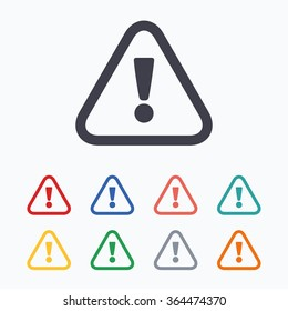 Attention sign icon. Exclamation mark. Hazard warning symbol. Colored flat icons on white background.