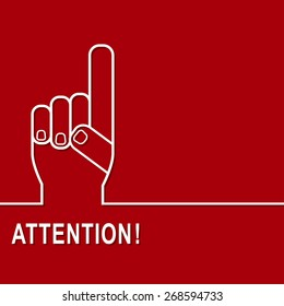 Attention sign icon. Hazard warning symbol in red background. Vector.