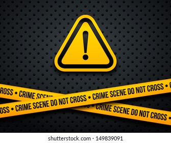 Attention sign and police lines. Vector illustration.