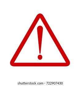 Attention sign symbol triangle. Caution icon exclamation. Alert road sign.
