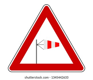 Attention sign with wind cone