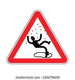 Attention Slippery ice road in winter. Caution Slip on ice. Red road danger sign