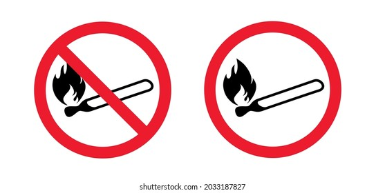 Attention, stop do not open fire or flame zone sign. Vector prohibition, no ban pictogram. Warning area icon. Caution, forbid no matchstick. Forbidden smoking, BBQ grill or campfire. Matches flames