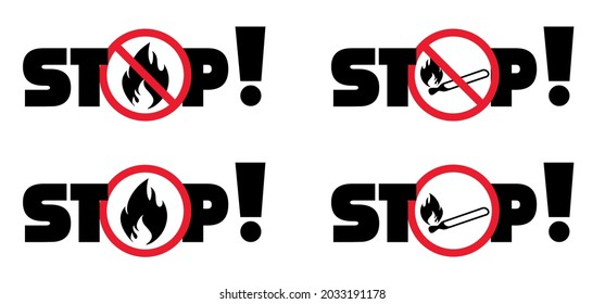 Attention, stop do not open fire or flame zone sign Funny vector prohibition, no ban signs Danger warning area icons Caution, forbid no matchstick Forbidden smoking, BBQ grill or campfire allowed