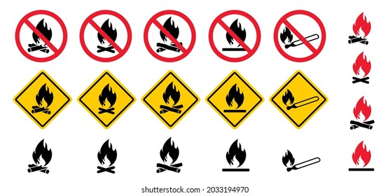 Attention, stop do not open fire or campfire flame zone No flames allowed Sign ban bonfires Funny forbidding camping beach forest Vector prohibition caution icon Forbid no smoking pictogram No picnic