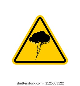 Attention Thunderstorm. Yellow prohibitory triangular road sign. Caution Cloud and lightning. Vector illustration