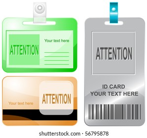 Attention. Vector id cards.