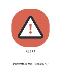 Attention warning attacker alert sign with exclamation mark. beware alertness of internet danger symbol.