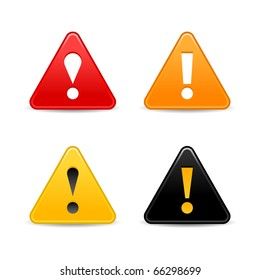 Attention warning icon web 2.0 button with exclamation mark. Satin triangle shape with shadow on white