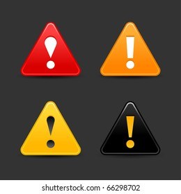 Attention warning icon web 2.0 button with exclamation mark. Satin triangle shape with shadow on gray