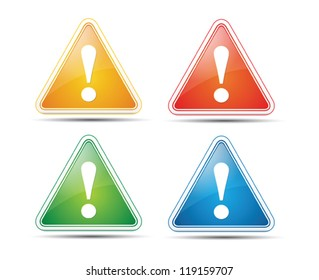 Attention Warning Signs for web on white background