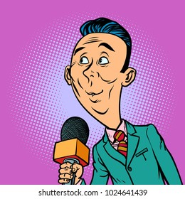 attentive interested curious reporter correspondent journalist male. television and radio, Internet broadcasting. Comic book cartoon pop art retro vector illustration drawing
