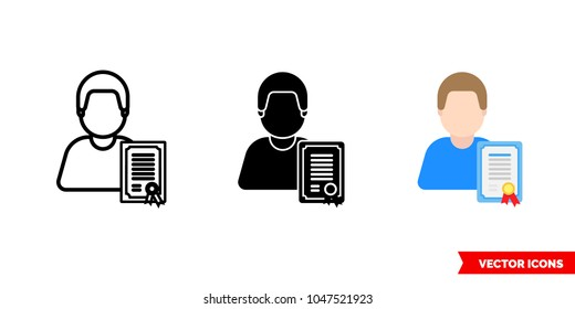 Attestation certified specialist icon of 3 types: color, black and white, outline. Isolated vector sign symbol.