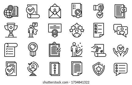 Attestation service icons set. Outline set of attestation service vector icons for web design isolated on white background