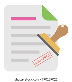 Attested Document Flat Colored Icon
