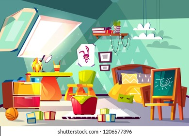 Attic child room interior cartoon vector illustration. Toddler or preschooler boy cozy bedroom on garret with chalkboard, toys and wooden furniture. Montessori nursery, kindergarten grade or playroom