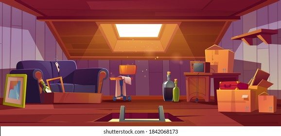Attic room with ladder in hatch, old things, roof window and furniture. Discreet garret place with antique radio, sofa, carton boxes, wine bottles, table and suitcase. Cartoon vector illustration