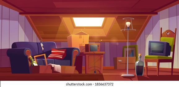Attic room with old things, garret with roof window and furniture. Discreet place with antique switched-off TV set, radio, carton boxes, wine bottle, table and floor lamp. Cartoon vector illustration