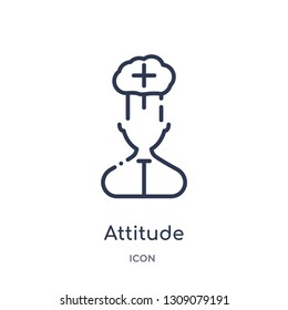 attitude icon from startup outline collection. Thin line attitude icon isolated on white background.