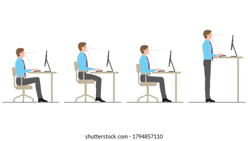 The attitude of a man who works at a desk with a computer. Chair height
