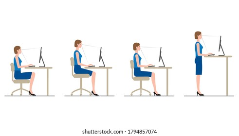 The attitude of a woman who works at a desk with a computer. Chair height