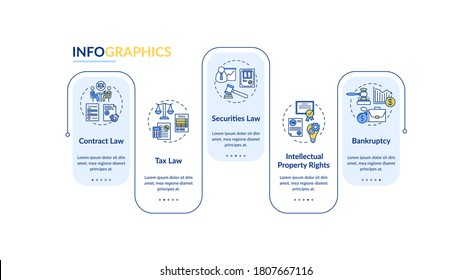 Attorney core competencies vector infographic template. Legal lawyer. Presentation design elements. Data visualization with 5 steps. Process timeline chart. Workflow layout with linear icons
