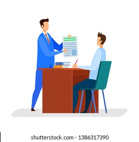 Attorney, Editor Office Flat Vector Illustration. Lawyer with Assistant Checking Legal Documents. Notary Internship. Boss Showing Employee Article, Contract. Man Sitting at Workplace