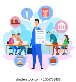Attorney Holding Paper. Seal and Signature. Court Decision. Jury, Prosecutors. Law Book and Gavel Icons. Court and Themis Scale. Lawyer Services. Civil Law. Vector EPS 10 on White Background.