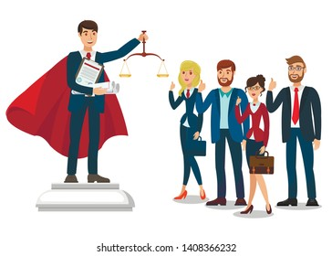Attorney School Graduate Flat Vector Illustration. Law University Faculty Students. Young Lawyer, Judge Cartoon Character Holding Justice Scales. Advocate, Tutor on Podium with Judgement Symbol