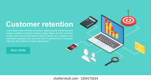 Attract customers concept banner. Isometric illustration of attract customers vector concept banner for web design