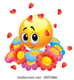 Attracted smiley ball with flowers