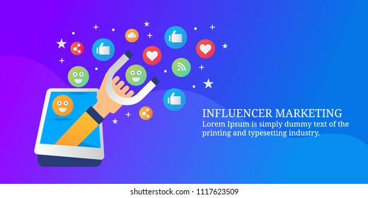 Attracting audience through mobile content - Influencer marketing strategy - Mobile marketing  - vector banner with icons and texts