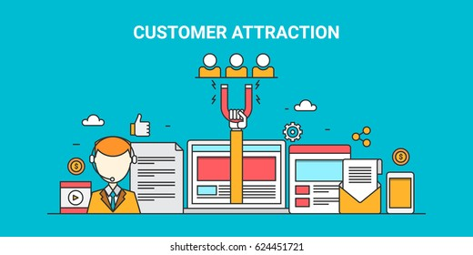 Attracting customers, website audience with modern marketing strategies, social media promotion, email campaigns flat line vector banner