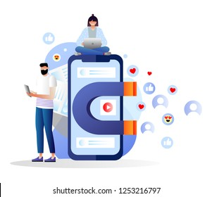 attracting online customers vector illustration.Big magnet and people with laptop around. Customer retention strategy, digital inbound marketing, customer attraction gradient banner. Characters.