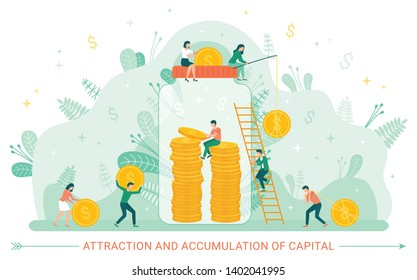 Attraction and accumulation of capital vector, people dealing financial assets and investment in future. Jar with gold dollars and coins of currency. Financial accumulation money in capitalism market