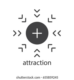 Attraction glyph icon. Silhouette symbol. Positively charged electron. Negative space. Vector isolated illustration