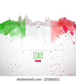 Attraction of Italy painted in the style of the sketch. Watercolor background. Italian moisture. Vector illustration.