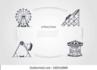Attraction - swings and carousels attractions vector concept set. Hand drawn sketch isolated illustration